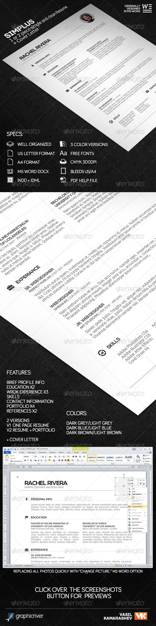 GraphicRiver SIMPLUS 1 or 2 Piece Simple and Clean Resume 7238629