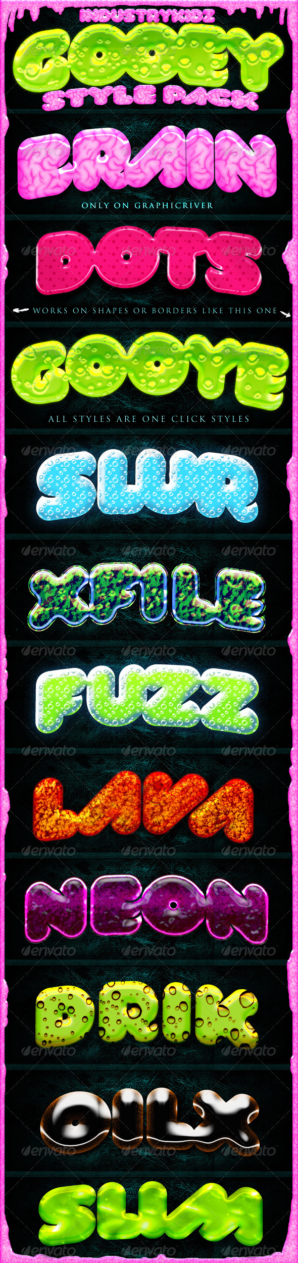 Graphic River Slime Gooey Photoshop Layer Styles  Add-ons -  Photoshop  Styles  Text Effects 758141