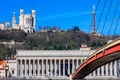 Famous view of Saone river and footbridge at Lyon - PhotoDune Item for Sale