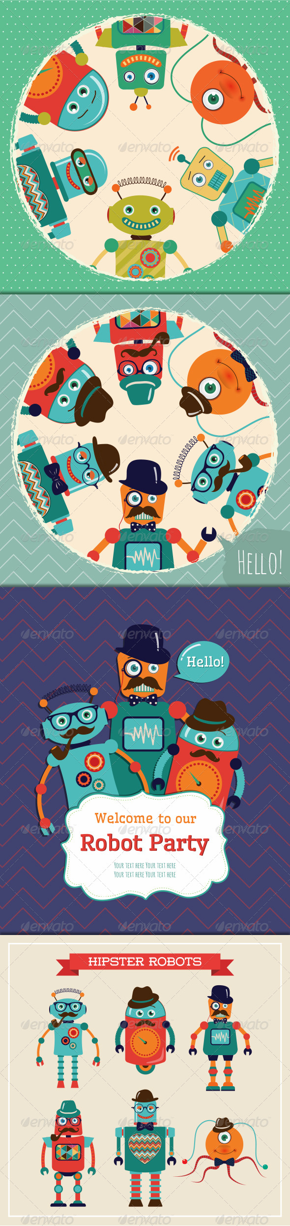 GraphicRiver Vintage Banners and Cards with Hipster Robots 7240148