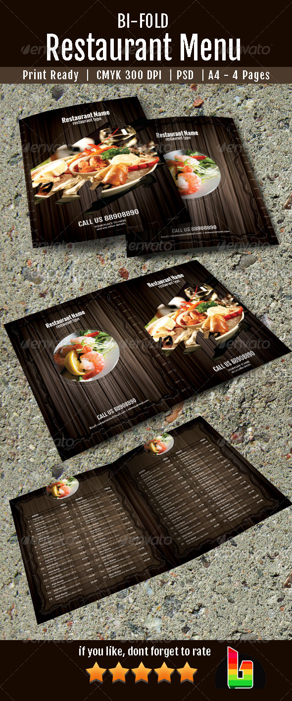 GraphicRiver Bifold Restaurant Menu 7240155