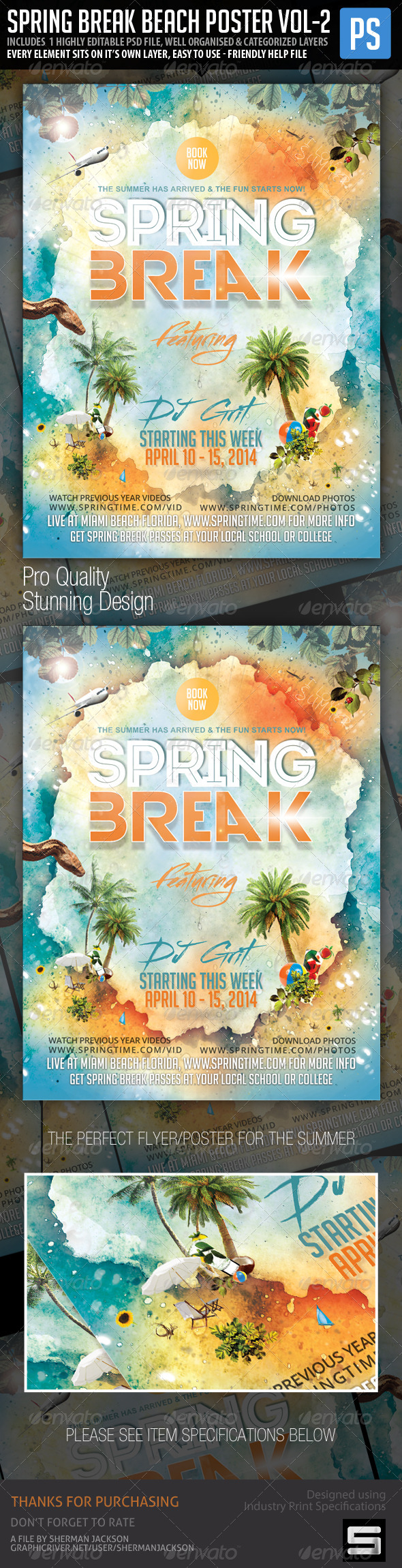GraphicRiver Spring Break Beach Party Vol.2 Poster Flyer 7240244