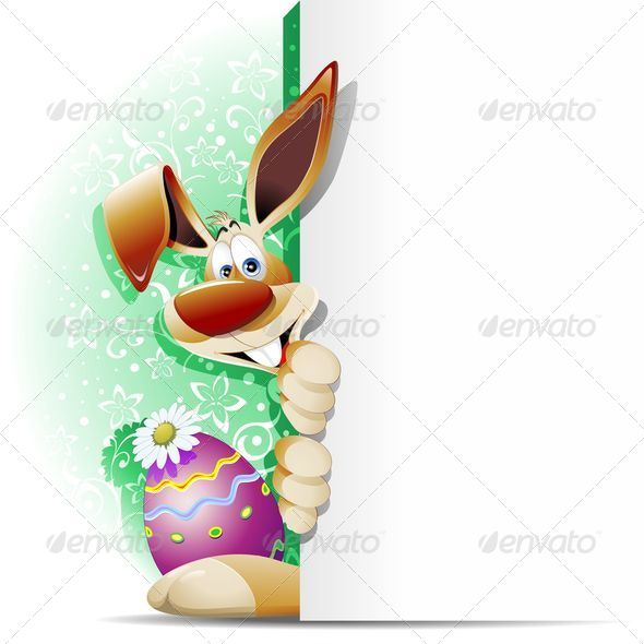 GraphicRiver Easter Bunny Cartoon with White Panel 7240753