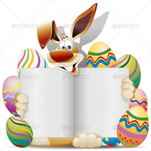 GraphicRiver Easter Bunny Cartoon with Greeting Card and Eggs 7240760