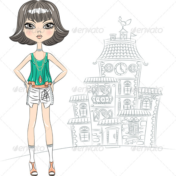 GraphicRiver Vector Hipster Fashion Girl Top Model in the City 7241130