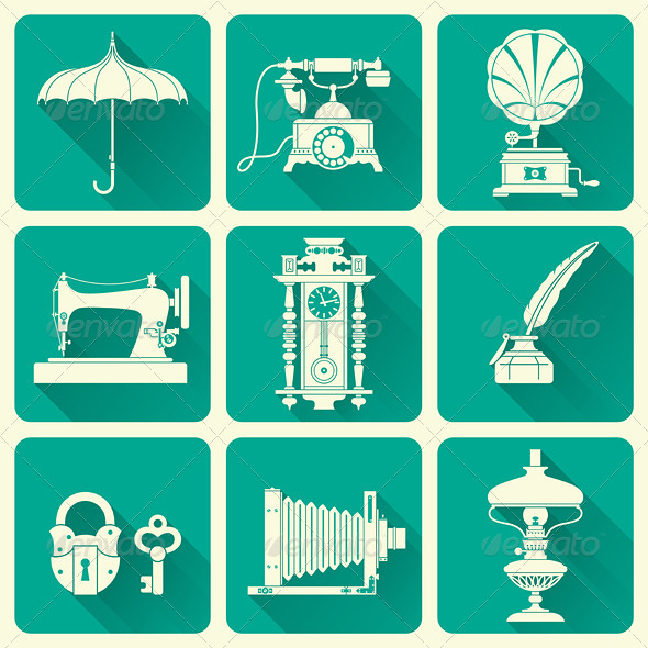 GraphicRiver Set Of Vintage Objects Icons 7241373