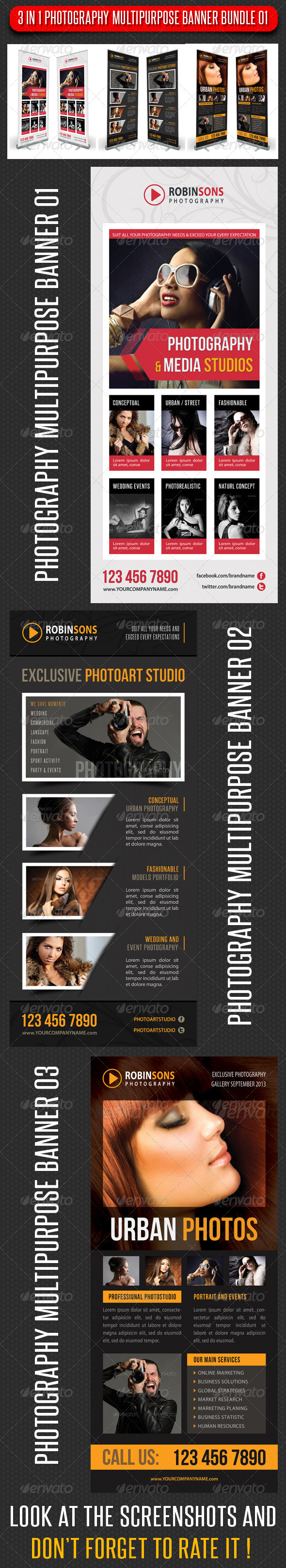 GraphicRiver 3 in 1 Photography Multipurpose Banner Bundle 02 7241388