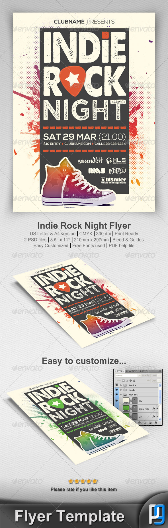 GraphicRiver Indie Rock Night Flyer Template 7241558