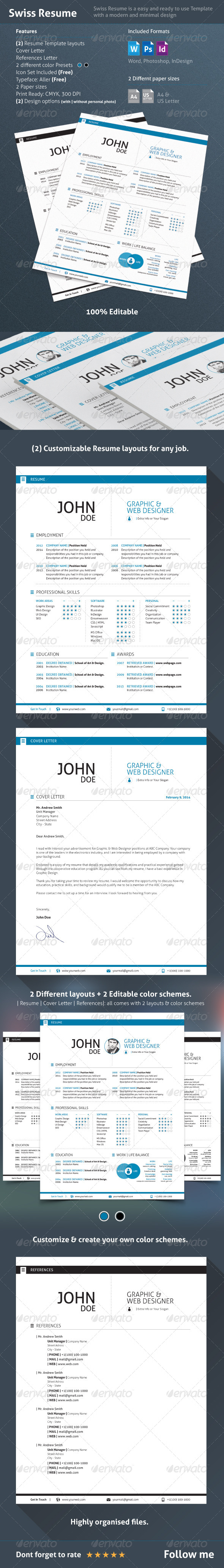 GraphicRiver 3 Piece Swiss Style Resume 7241774
