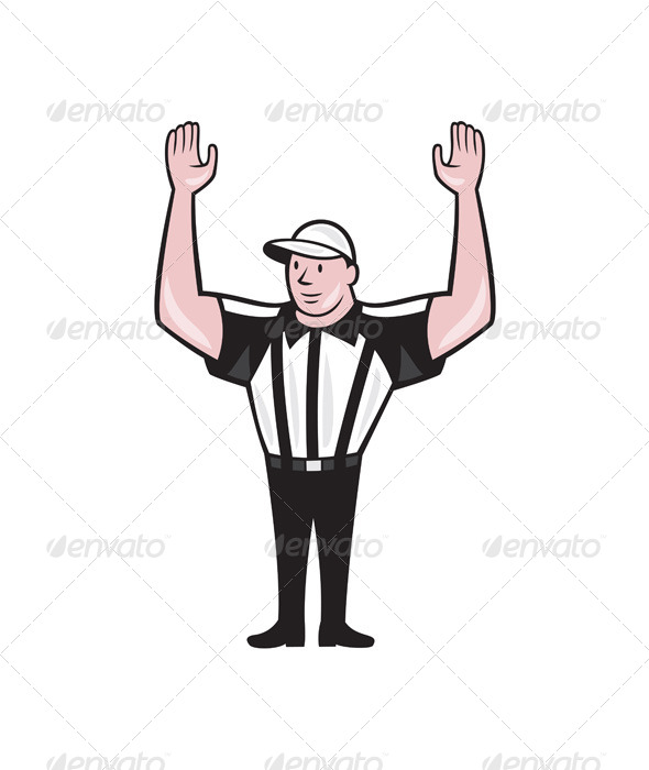 GraphicRiver American Football Referee Touchdown Cartoon 7242764