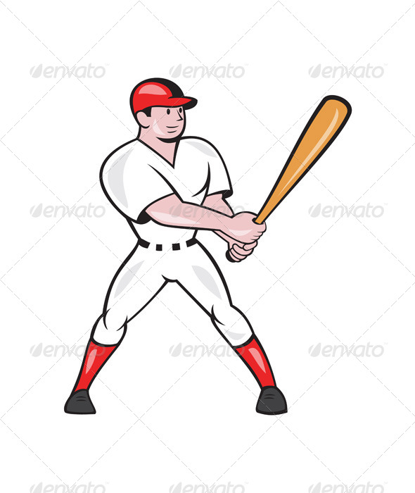 GraphicRiver Baseball Hitter Batting Isolated Cartoon 7242810