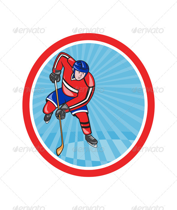 GraphicRiver Ice Hockey Player Front with Stick Retro 7242918