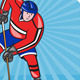 Ice Hockey Player Front with Stick Retro - GraphicRiver Item for Sale