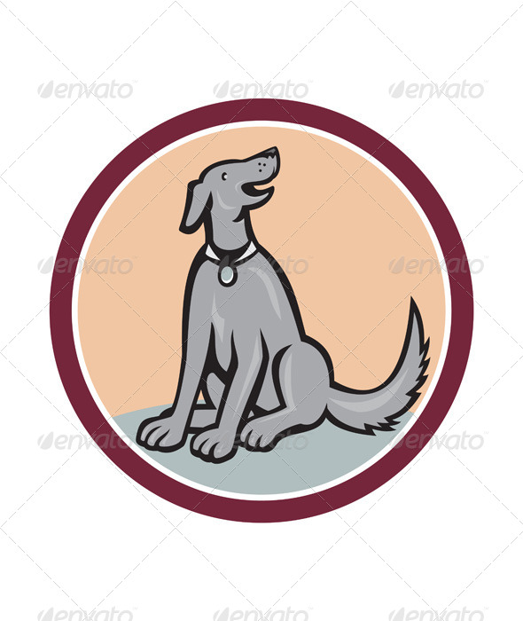 GraphicRiver Dog Sitting Looking Up Cartoon 7243040