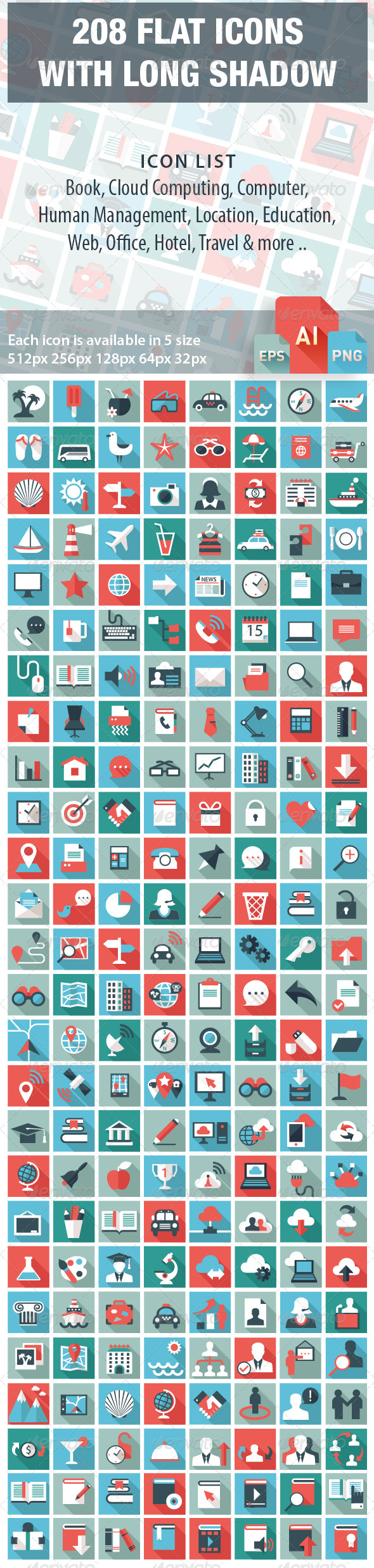 GraphicRiver 208 Long Shadow Flat Icons 7243267