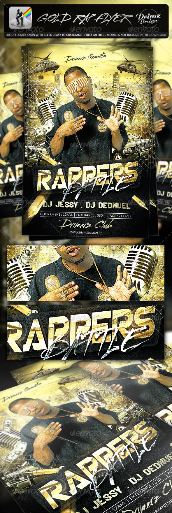 GraphicRiver Gold Rap Flyer 7243461