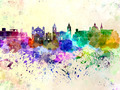Valletta skyline in watercolor background - PhotoDune Item for Sale