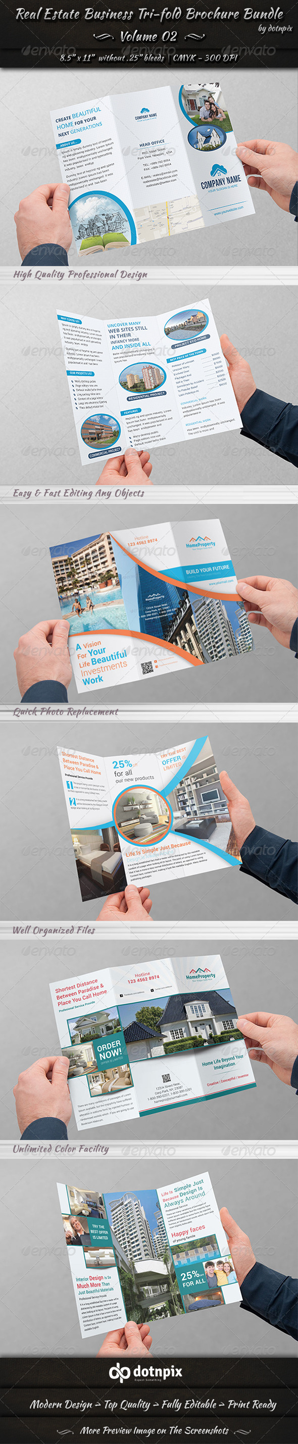 GraphicRiver Real Estate Tri-fold Brochure Bundle Volume 2 7244287