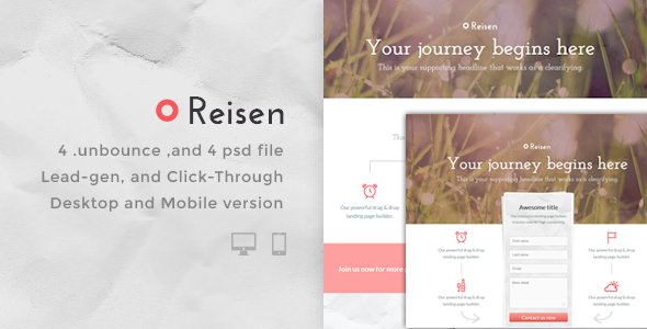 ThemeForest Reisen Bundle Unbounce pages 7244303