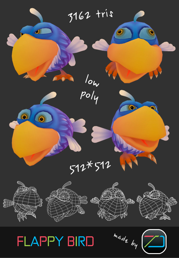 3DOcean Low Poly Flappy Bird 7244328