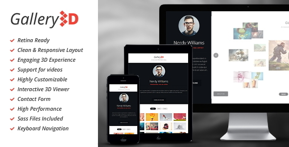 ThemeForest Gallery3D Fullscreen Portfolio Template 7244343