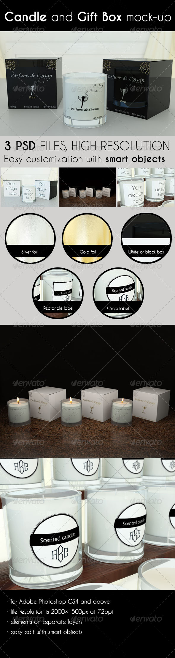 GraphicRiver Candle and Gift Box Mock-Up 7244792