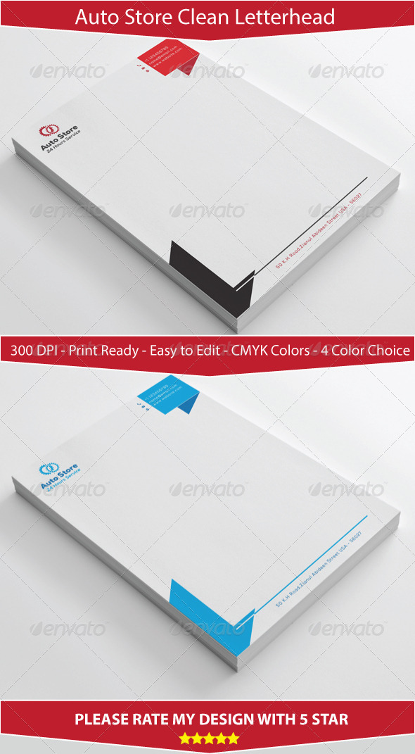 GraphicRiver Clean Simple Auto store Letterhead Design 7224113
