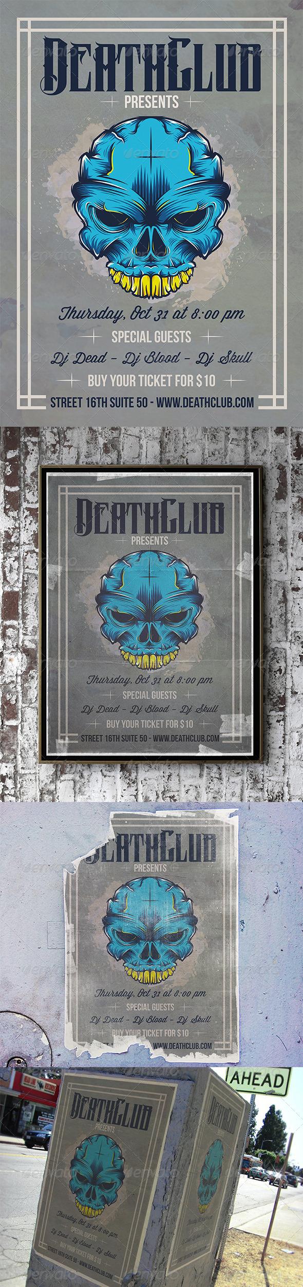 GraphicRiver Skull Tattoo Flyer 7244900