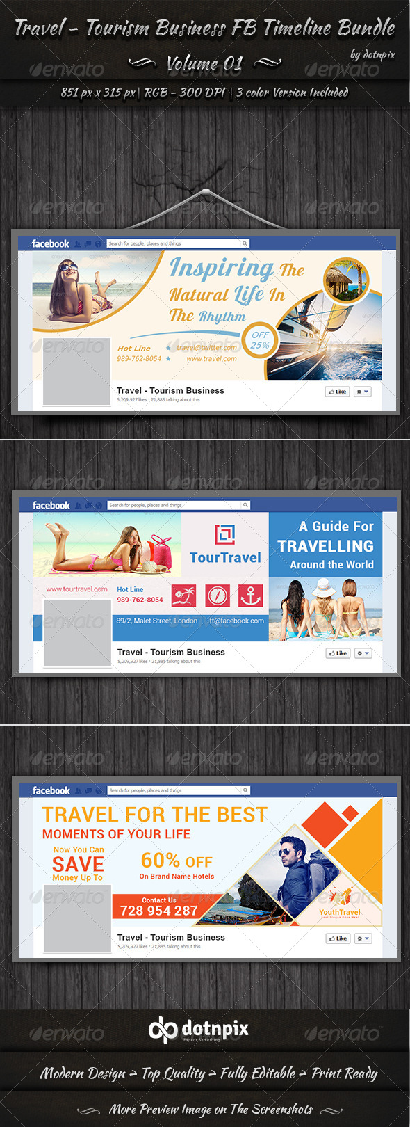 GraphicRiver Travel Business FB Timeline Bundle Volume 1 7245038