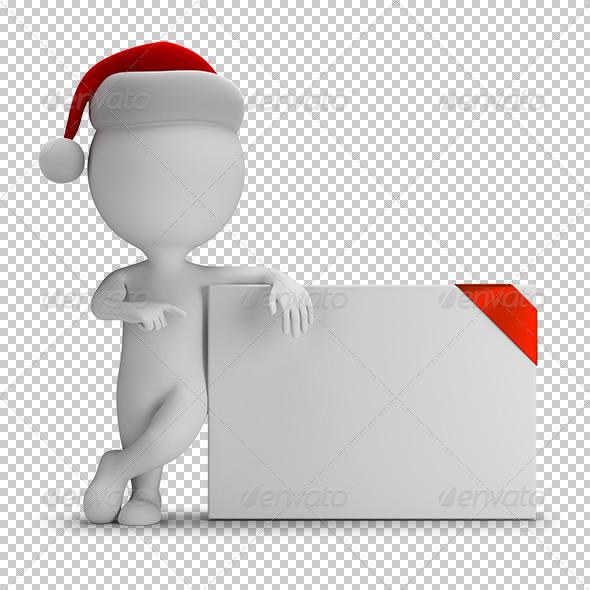 GraphicRiver 3D Small People Santa and Empty Board 7245039