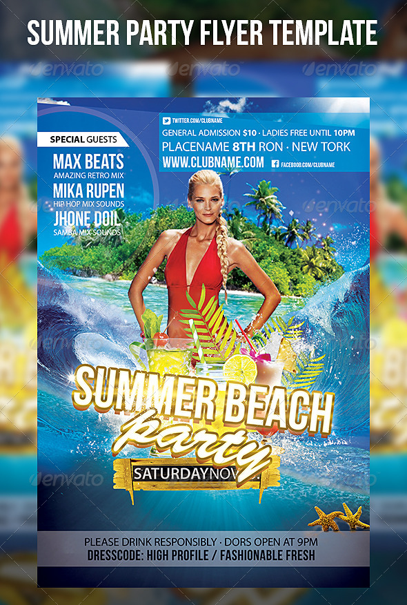 GraphicRiver Summer Party Flyer Template 7245121