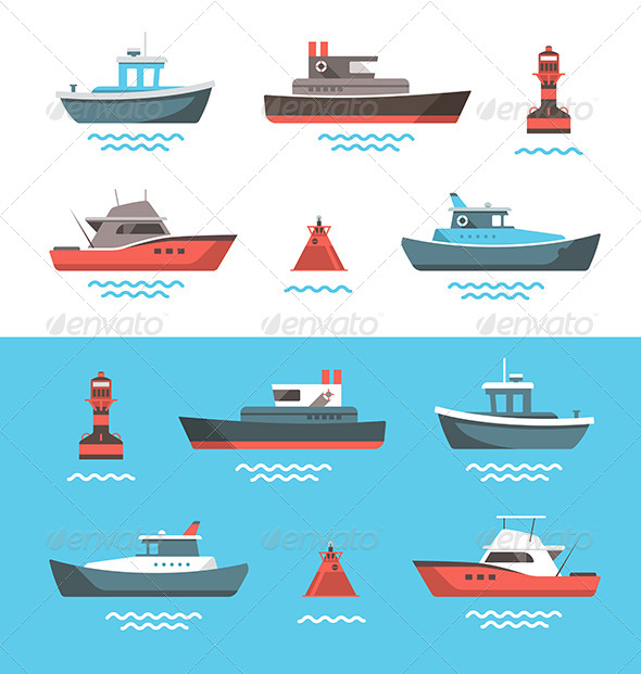 GraphicRiver Illustrations of Boats 7245219