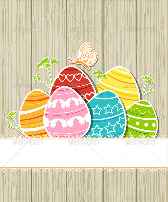 GraphicRiver Wooden Easter Background with Eggs 7245283
