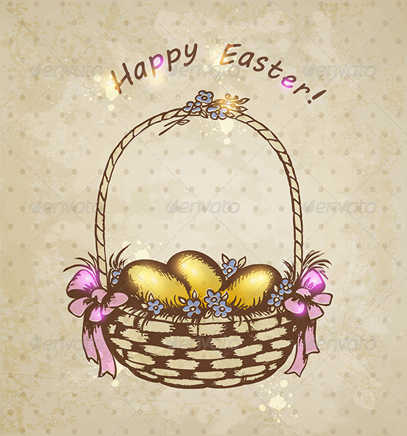 GraphicRiver Easter Basket with Golden Eggs 7245387