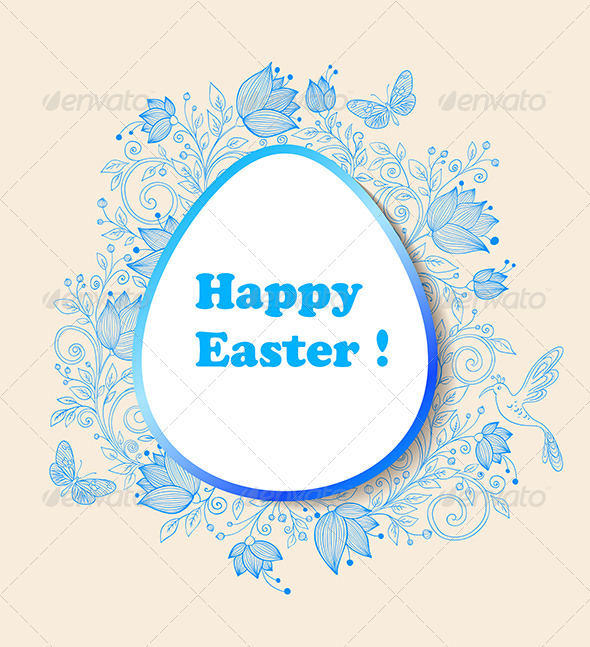 GraphicRiver Easter Background with Blue Flowers 7245406