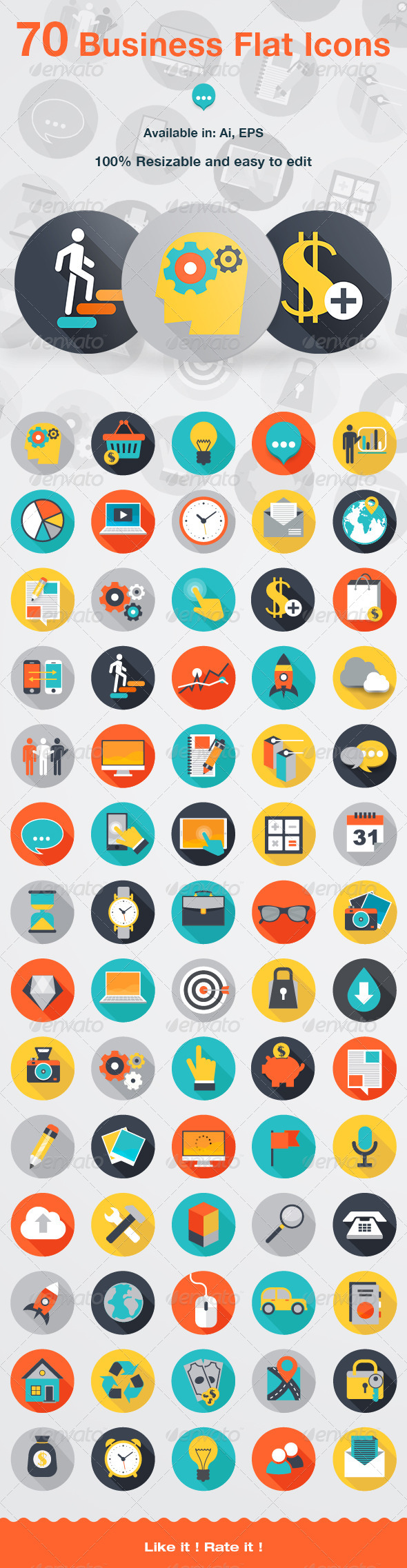 GraphicRiver 70 Business Flat Icons 7245885