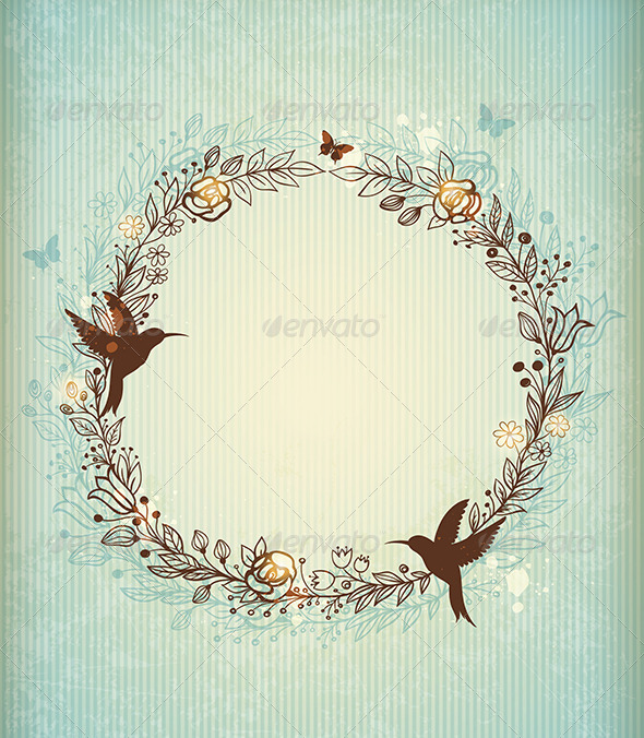 GraphicRiver Decorative Vintage Hand Drawn Wreath 7245902