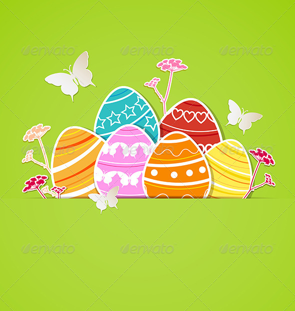 GraphicRiver Green Easter Background with Eggs 7245912