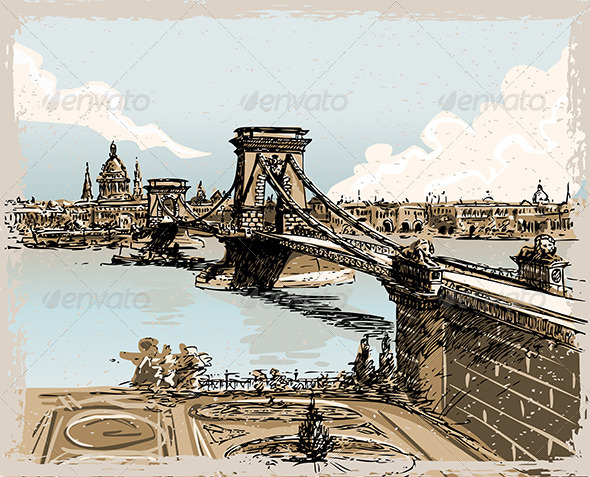 GraphicRiver Vintage Hand Drawn View of the Bridge in Budapest 7245937