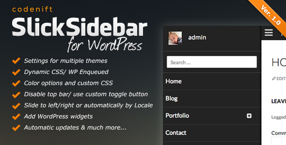 CodeCanyon Slick Slidebar Responsive WordPress Plugin 7230721