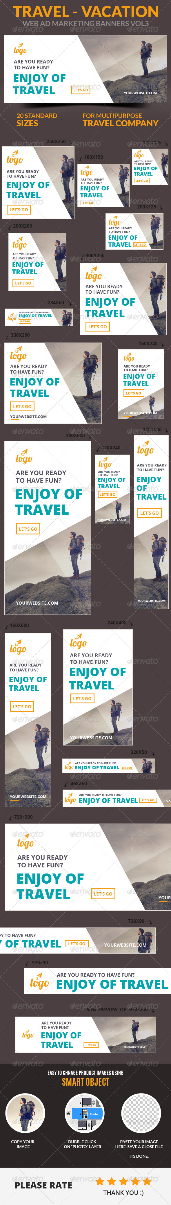 GraphicRiver Travel Vacation Web Ad Marketing Banners Vol3 7246791