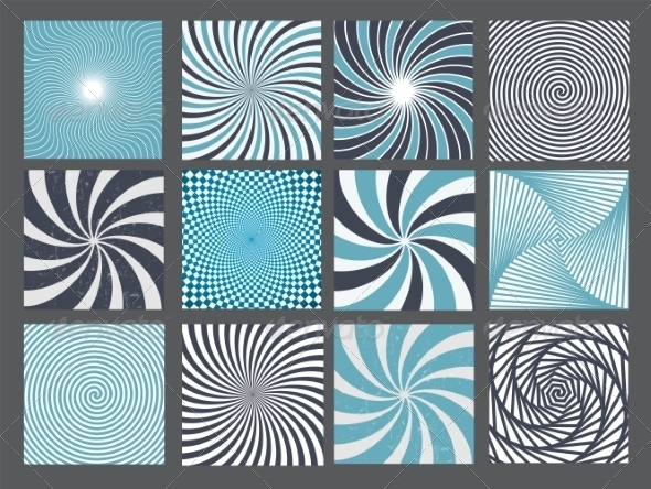 GraphicRiver Retro Vintage Hypnotic Background Set 7247156