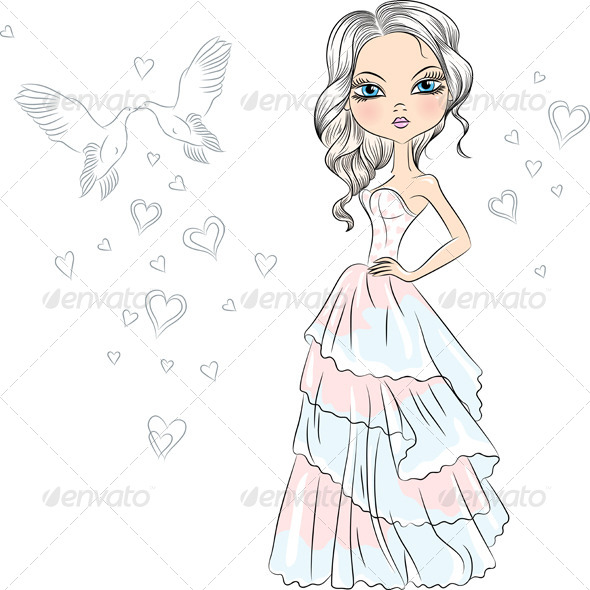 GraphicRiver Fashionable Girl Bride 7248100