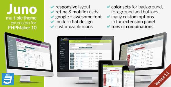 CodeCanyon Juno CSS3 extension theme for PHPMaker10 7028164