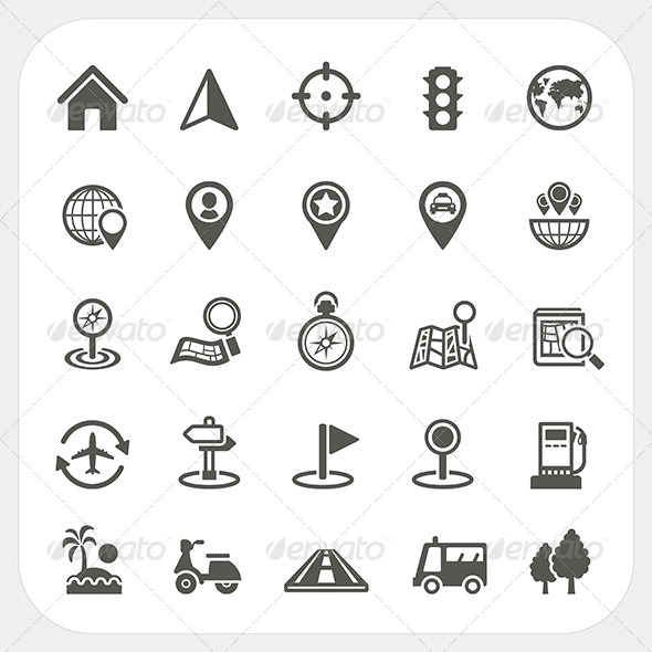 GraphicRiver Map and Location Icons Set 7249800
