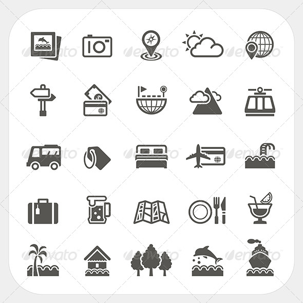 GraphicRiver Travel and Vacation Icons Set 7249809