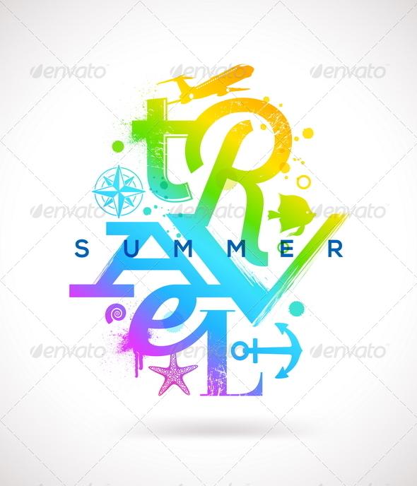 GraphicRiver Summer Travel Multicolored Type Design 7249810