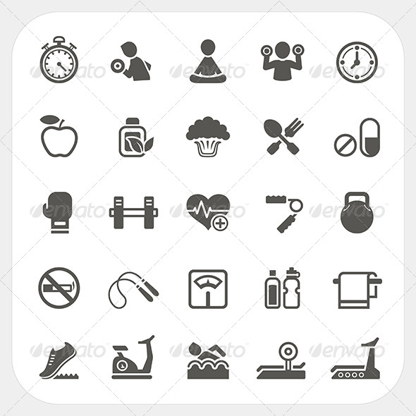 GraphicRiver Health and Fitness Icons Set 7249812