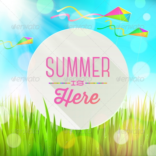 GraphicRiver Summer Greeting with Kites and Grass 7250014