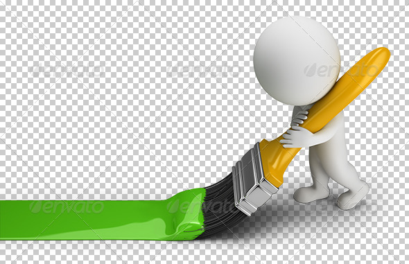 GraphicRiver 3D Small People Green Paint Brush 7250016